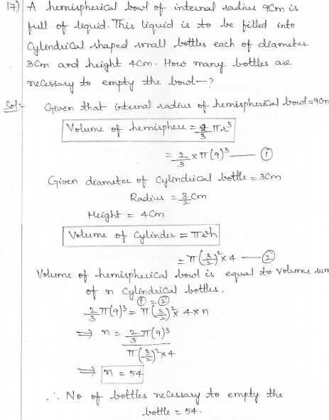 RD Sharma Class 10 Solutions Surface areas and Volumes Ex 16.1 Q17