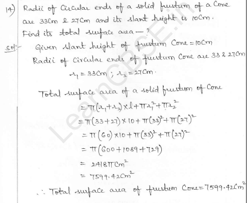 RD Sharma Class 10 Solutions Surface areas and Volumes Ex 16.3 Q14