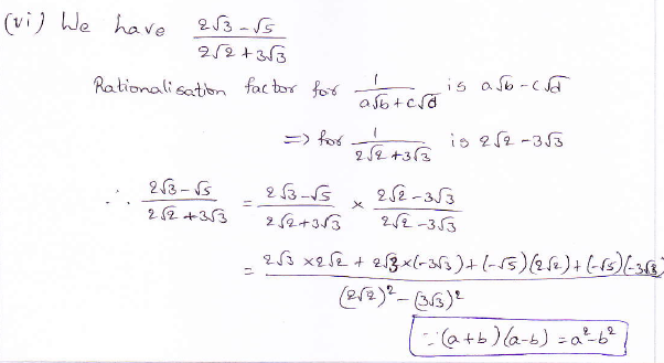 RD Sharma class 9 maths Solutions chapter 3 Rationalisation Exercise 3.2 Question 4 (vi)