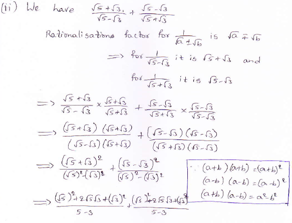 RD Sharma class 9 maths Solutions chapter 3 Rationalisation Exercise 3.2 Question 5 (ii)