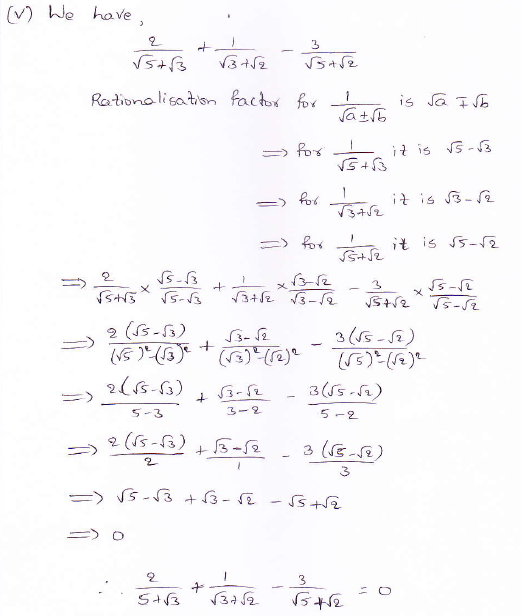 RD Sharma class 9 maths Solutions chapter 3 Rationalisation Exercise 3.2 Question 5 (v)