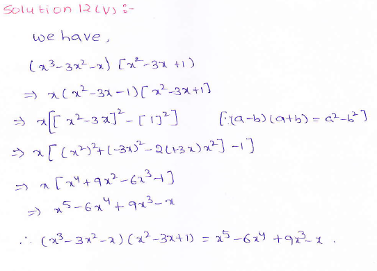 RD Sharma class 9 maths Solutions chapter 4 Algebraic Identities Exercise 4.1 Question 12 (v)