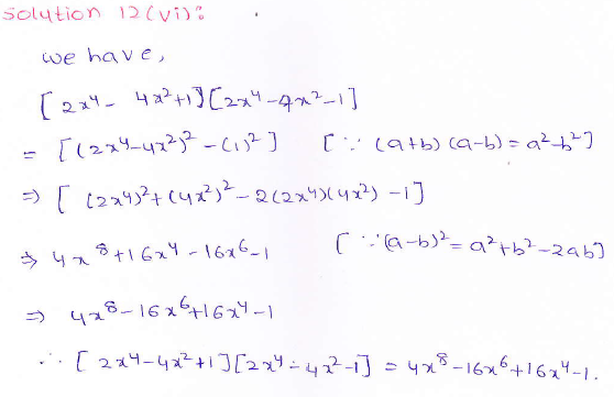 RD Sharma class 9 maths Solutions chapter 4 Algebraic Identities Exercise 4.1 Question 12 (vi)