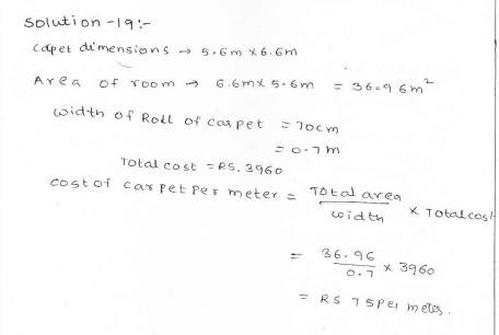 RD Sharma class 7 solutions 20.Munsuration(perimeter and area of rectiliner figures) Ex-20.1 Q 19