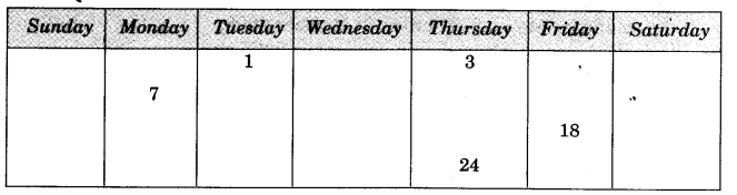 NCERT Solutions for Class 3 Mathematics Chapter-7 Time Goes On Calendar Magic Q6