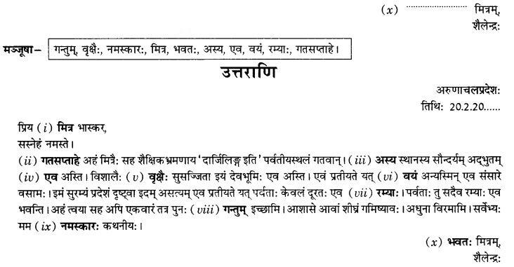 NCERT Solutions for Class 10th Sanskrit Chapter 1 सङ्केताधारितम् अनौपचारिकपत्रम् 21