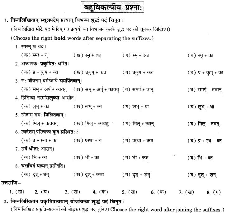 NCERT Solutions for Class 9th Sanskrit Chapter 19 Shatr Shanach Pratyayoh Prayogah 8
