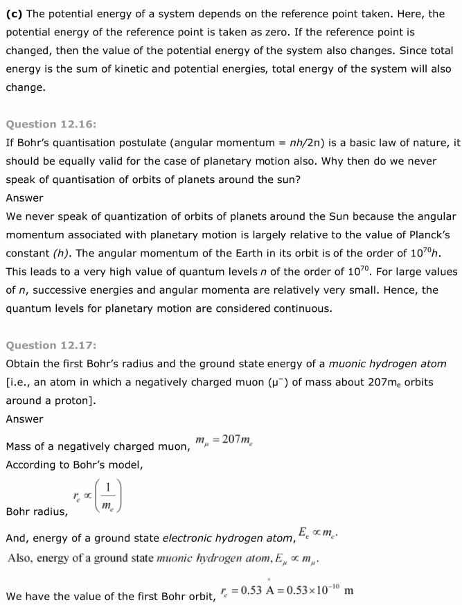 NCERT Solutions For Class 12 Physics Chapter 12 Atoms 18