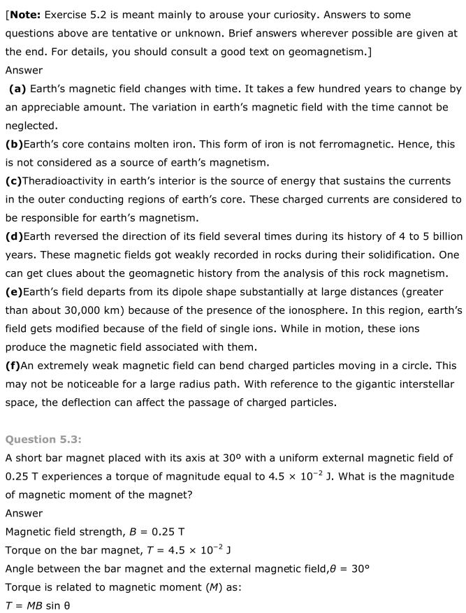 NCERT Solutions For Class 12 Physics Chapter 5 Magnetism and Matter 3