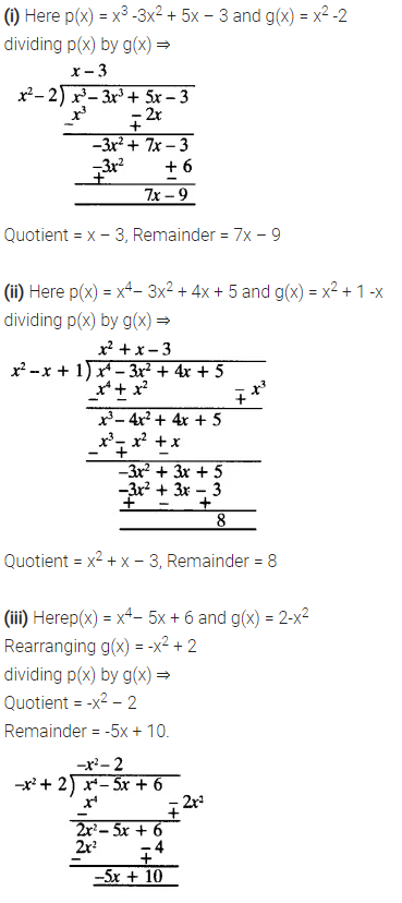 NCERT Solutions for Class 10 Maths Chapter 2 Polynomials Ex 2.3 Q1