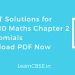 NCERT Solutions for Class 10 Maths Chapter 2 Polynomials PDF