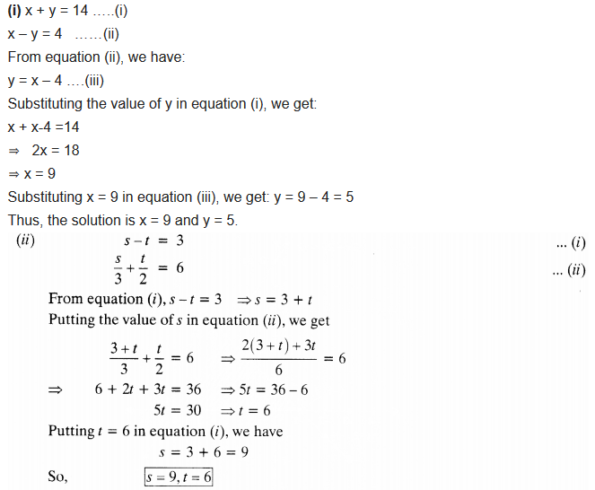 NCERT Solutions for Class 10 Maths Chapter 3 Pdf Pair Of Linear Equations In Two Variables Ex 3.3 Q1