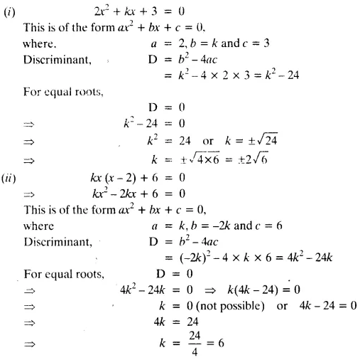 NCERT Solutions for Class 10 Maths Chapter 4 Quadratic Equations Exercise 4.4 Q2