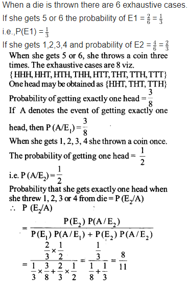 NCERT Solutions for Class 12 Maths Chapter 13 Probability Ex 13.3 Q 10