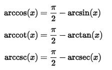 Trigonometric Formulas Complementary Angles