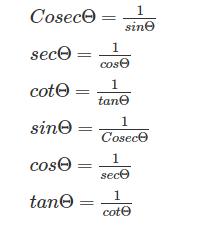 Trigonometric Formulas Reciprocal Relations