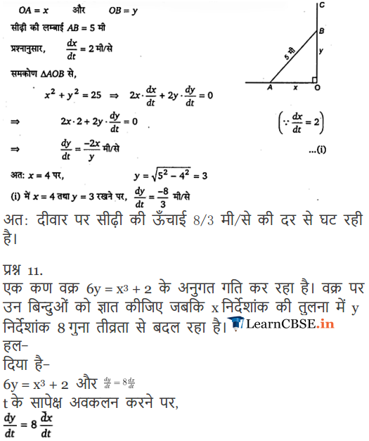 Class 12 Maths Chapter 6 Exercise 6.1 sols for CBSE and UP Board 2018-2019.