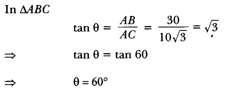 Applications of Trigonometry Height and Distance Class 10 Q 8