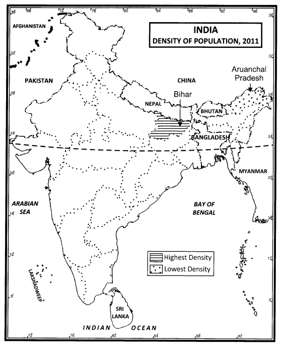 Class 12 Geography NCERT Solutions Chapter 1 Population Distribution, Density, Growth and Composition Map Based Questions Q1