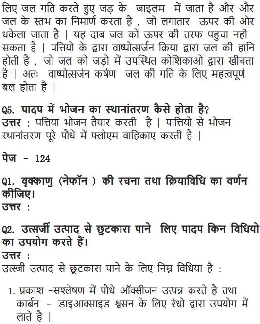 NCERT Solutions for Class 10 Science Chapter 6 Life Processes Hindi Medium 10