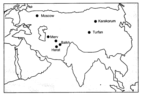 NCERT Solutions for Class 11 History Chapter 5 Nomadic Empires Map Skills Q1