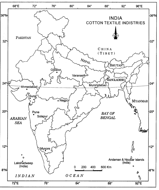 Class 12 Geography NCERT Solutions Chapter 8 Manufacturing Industries Map Based Questions Q2