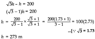 Important Questions for Class 10 Maths Chapter 9 Some Applications of Trigonometry 10