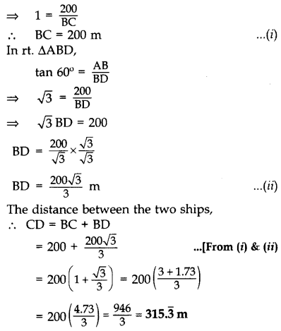 Important Questions for Class 10 Maths Chapter 9 Some Applications of Trigonometry 15