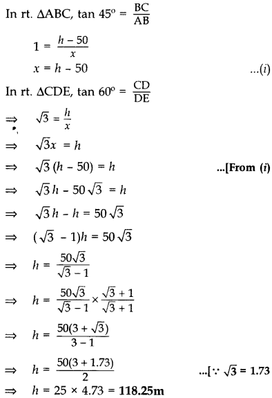 Important Questions for Class 10 Maths Chapter 9 Some Applications of Trigonometry 23