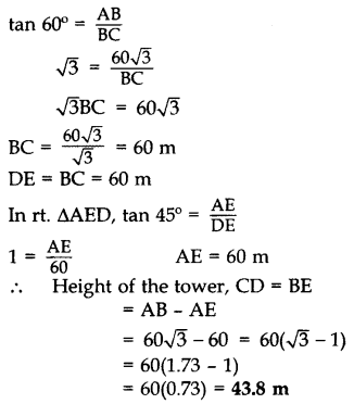 Important Questions for Class 10 Maths Chapter 9 Some Applications of Trigonometry 44