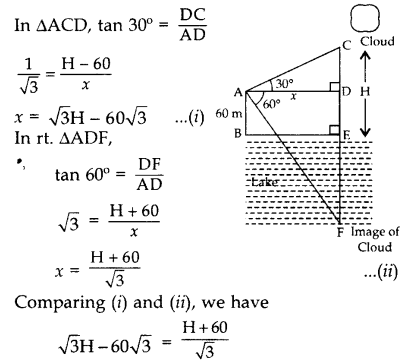 Important Questions for Class 10 Maths Chapter 9 Some Applications of Trigonometry 58