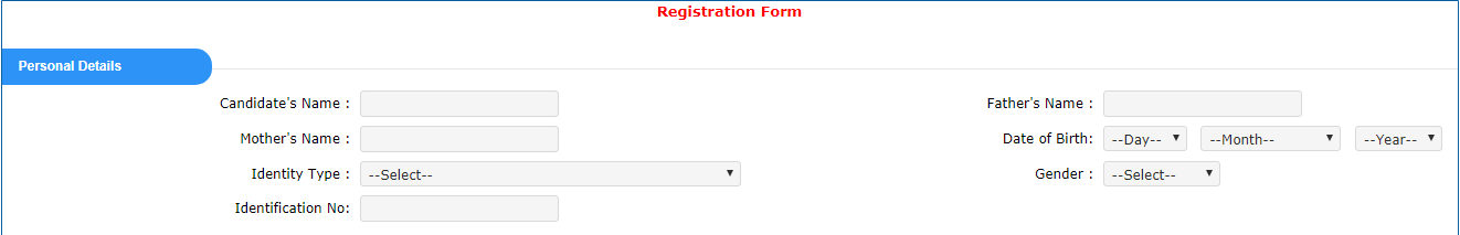 JEE Main Application Form - Personal Details