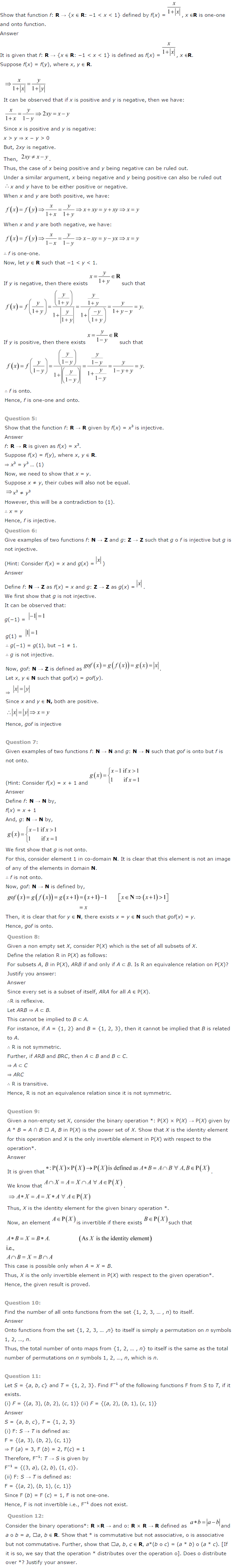 NCERT Solutions For Class 12 Maths Chapter 1 Relations and Functions 11