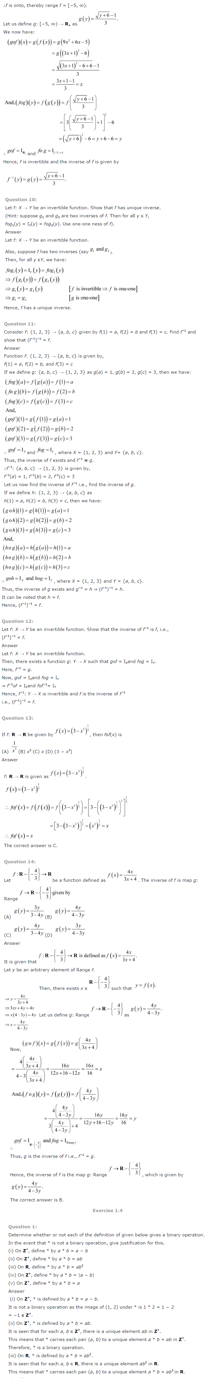 NCERT Solutions For Class 12 Maths Chapter 1 Relations and Functions 7