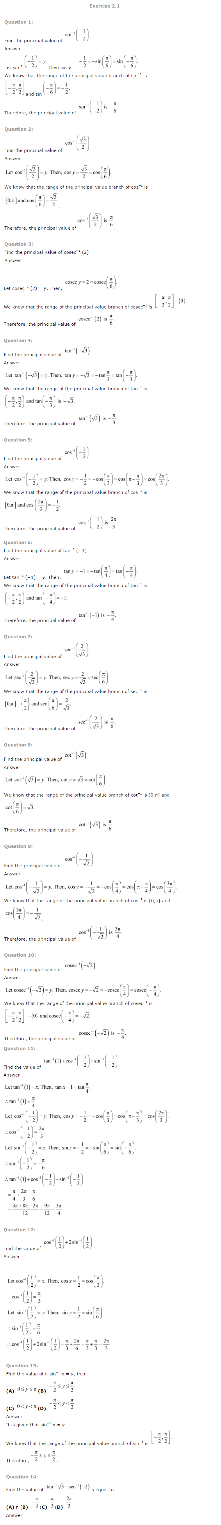 NCERT Solutions For Class 12 Maths Chapter 2 Inverse Trigonometric Functions 1