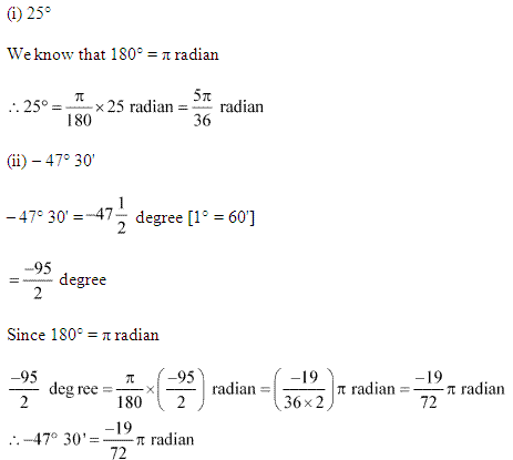 NCERT Solutions for Class 11 Maths Chapter 3 Trigonometric Functions Ex 3.1 Q1.1