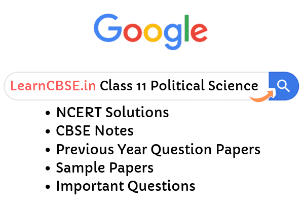 NCERT Solutions for Class 11 Political Science