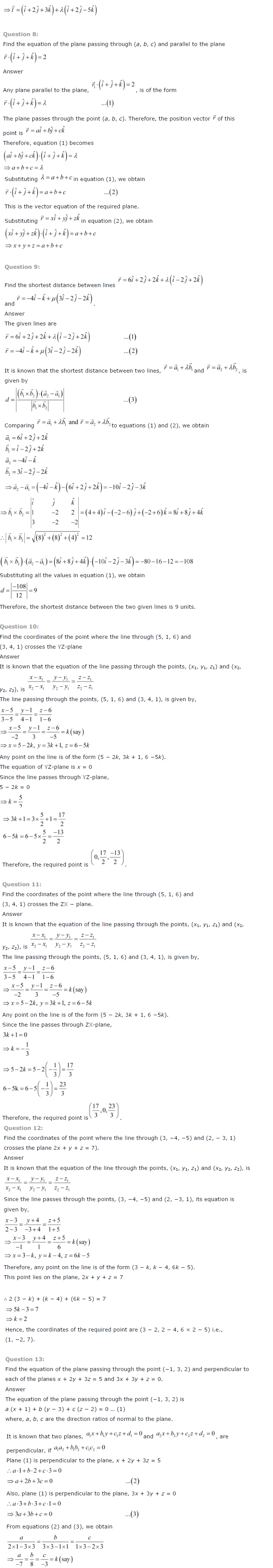 NCERT Solutions for Class 12 Maths Chapter 11 Three Dimensional Geometry 9