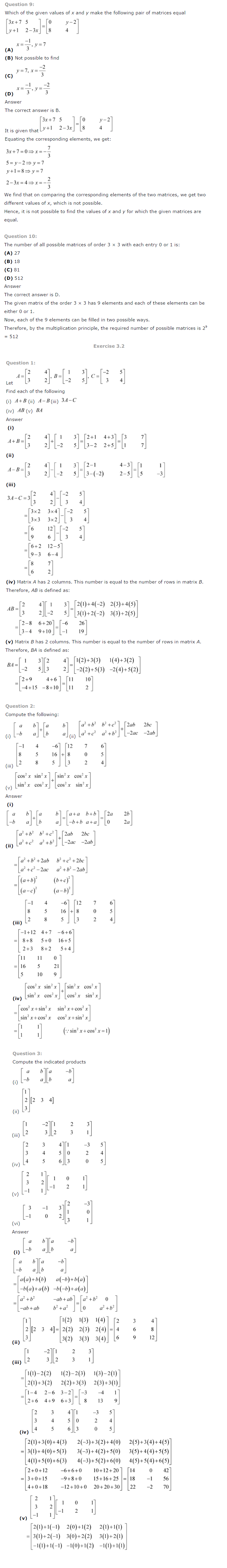 NCERT Solutions for Class 12 Maths Chapter 3 Matrices 1
