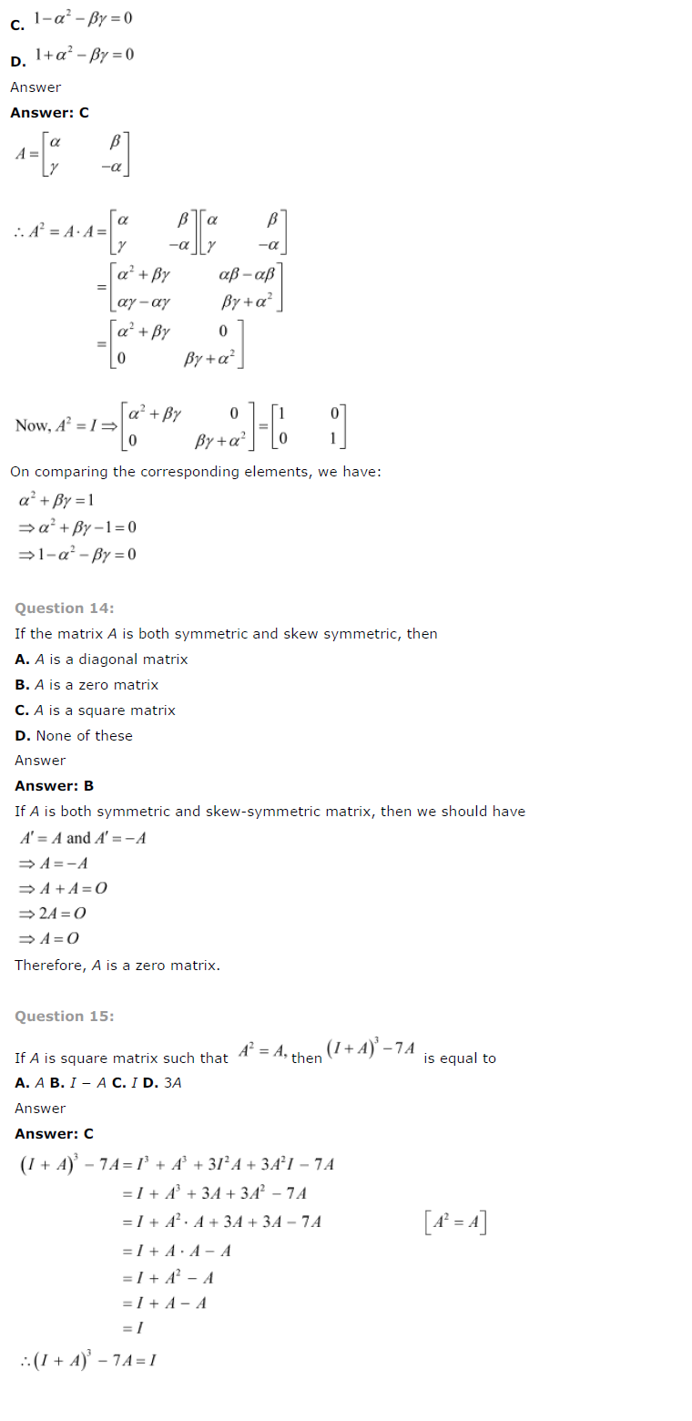 NCERT Solutions for Class 12 Maths Chapter 3 Matrices 14
