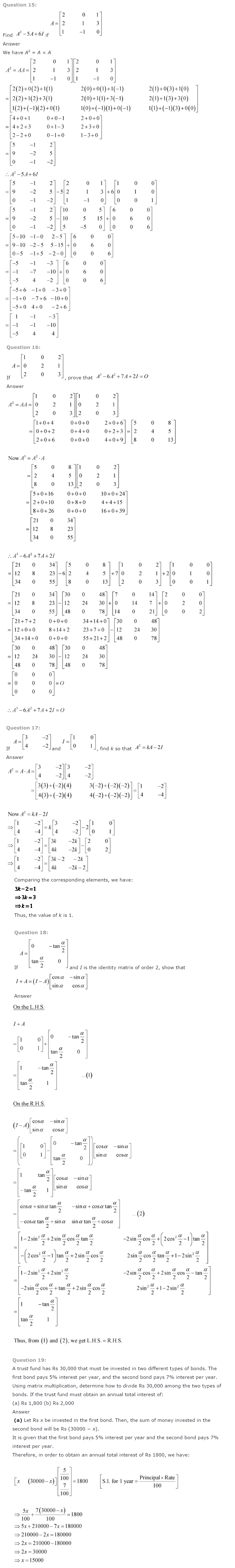 NCERT Solutions for Class 12 Maths Chapter 3 Matrices 5