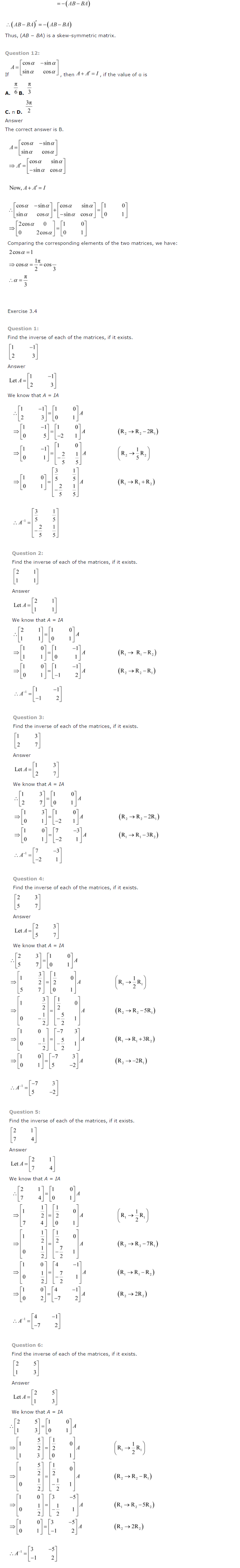 NCERT Solutions for Class 12 Maths Chapter 3 Matrices 9