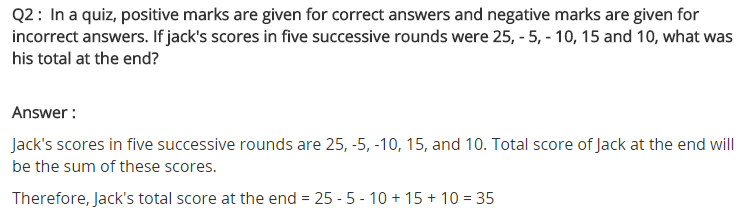 NCERT Solutions for Class 7 Maths Chapter 1 Integers Ex 1.1 Q2