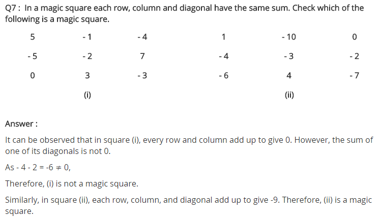 NCERT Solutions for Class 7 Maths Chapter 1 Integers Ex 1.1 Q7