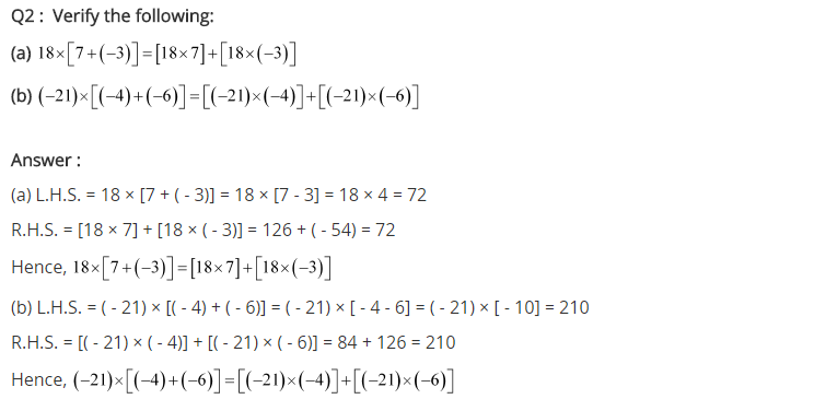 NCERT Solutions for Class 7 Maths Chapter 1 Integers Ex 1.3 Q2