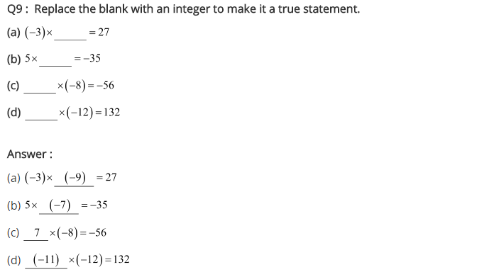 NCERT Solutions for Class 7 Maths Chapter 1 Integers Ex 1.3 Q9