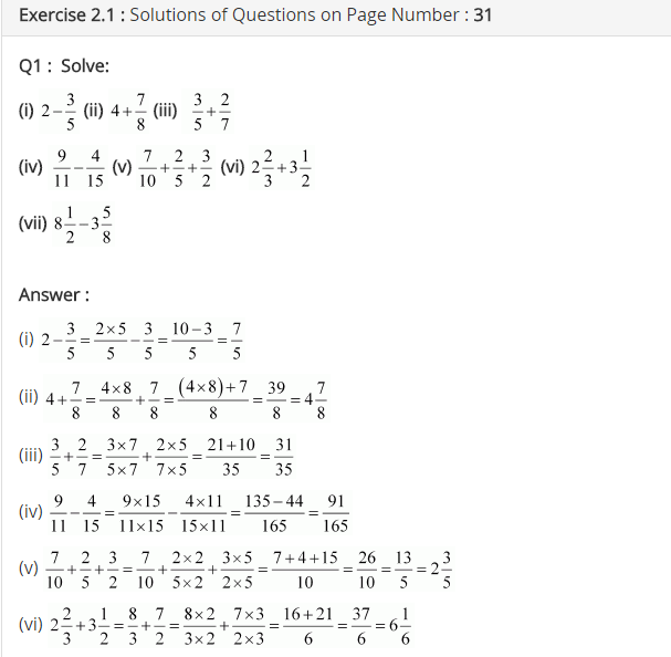 NCERT Solutions for Class 7 Maths Chapter 2 Fractions and Decimals Ex 2.1 Q1