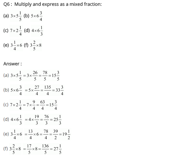 NCERT Solutions for Class 7 Maths Chapter 2 Fractions and Decimals Ex 2.2 Q6