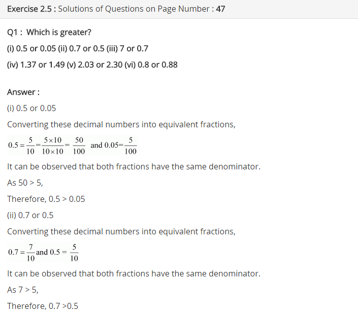 NCERT Solutions for Class 7 Maths Chapter 2 Fractions and Decimals Ex 2.5 Q1