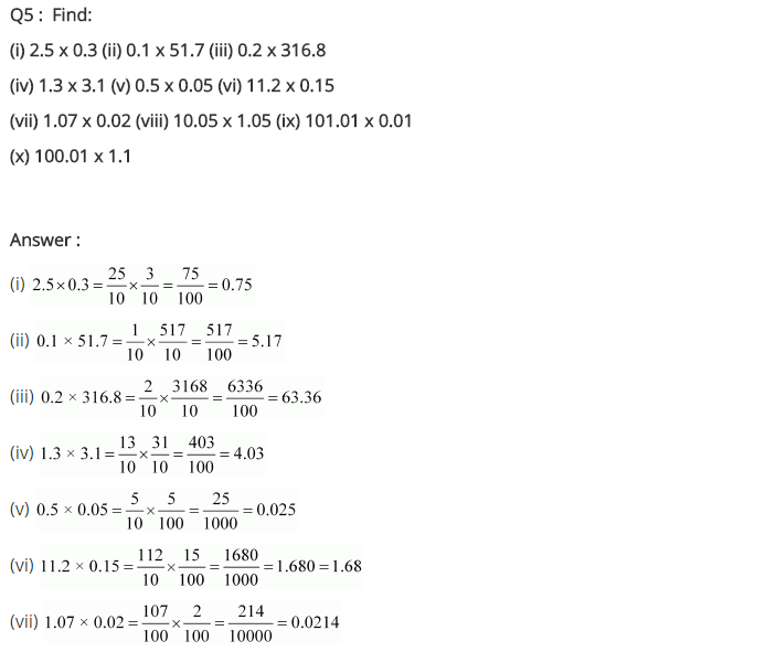 NCERT Solutions for Class 7 Maths Chapter 2 Fractions and Decimals Ex 2.6 Q5
